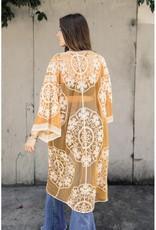 Leto Accessories Mesh & Cotton Lace Kimono