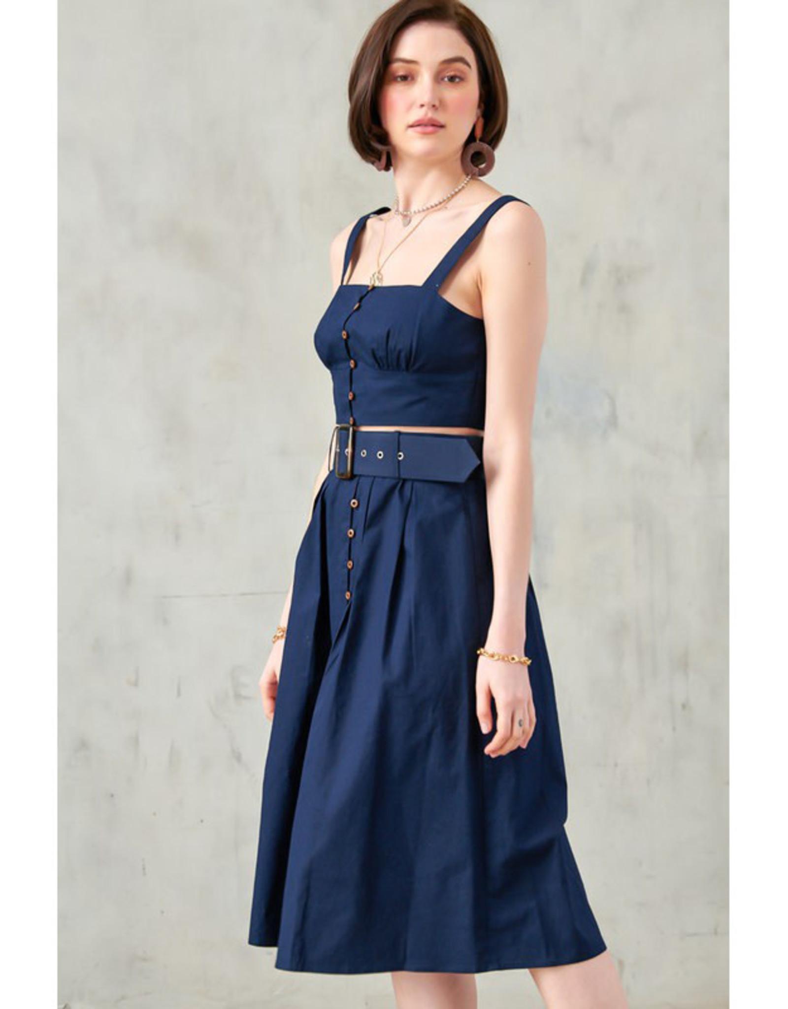 Blue Blush Button Cami & Midi Skirt Set