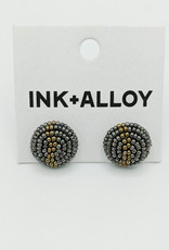 Ink+Alloy Seed Bead Button Earring
