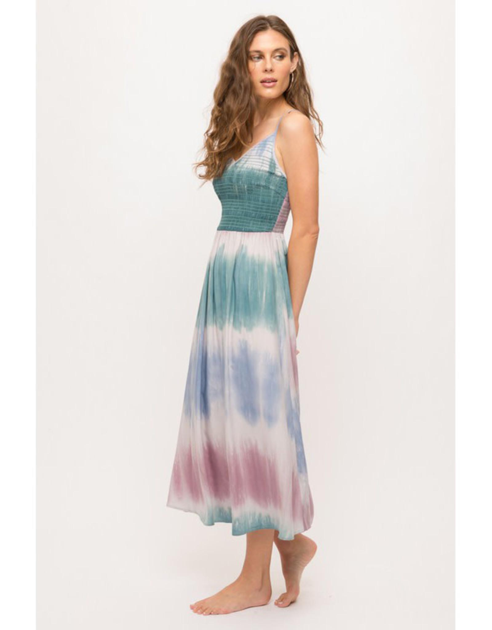 Tie Dye Smocked Midi Dress