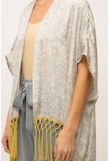Satin Snakeskin Kimono w/Fringe