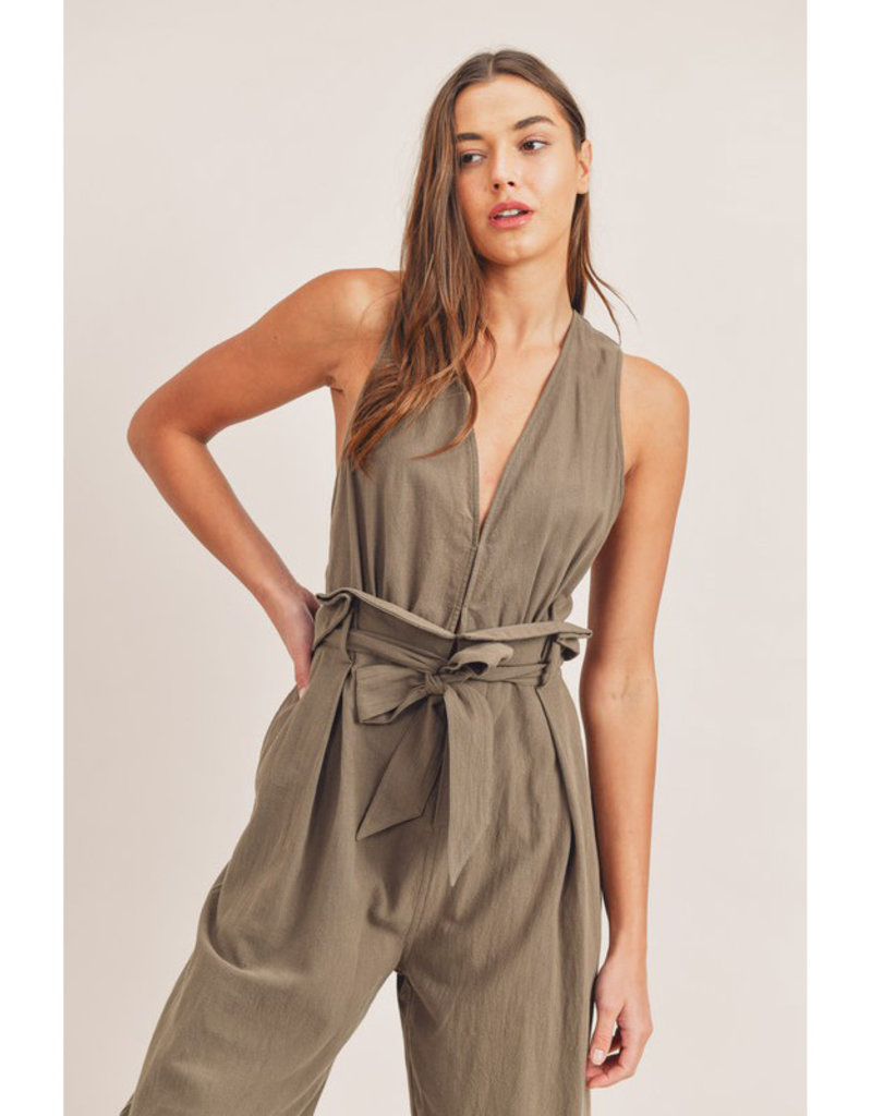 Mable Olive Cross Back Jumpsuit