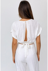 White Open Back Tie Top