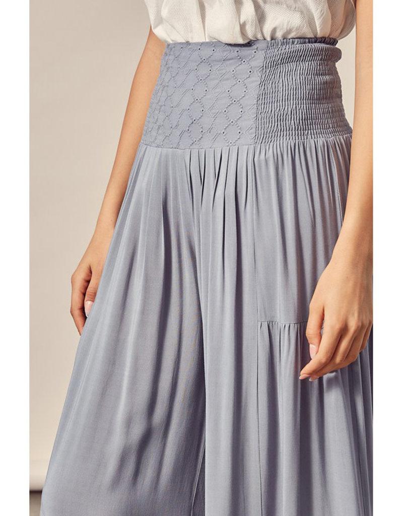 Embroidered High Waist Pants