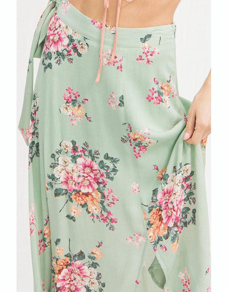 Mint Floral Midi Skirt