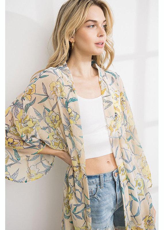 ILLA ILLA Floral Velvet Burnout Kimono