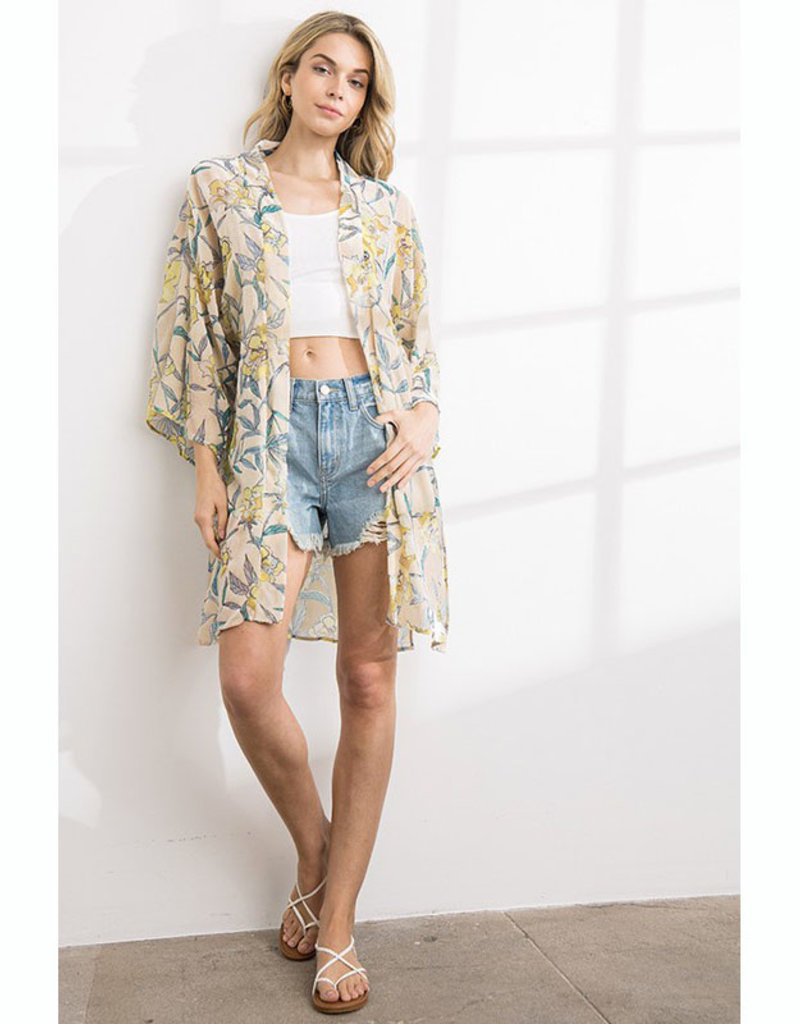 Floral Velvet Burnout Kimono