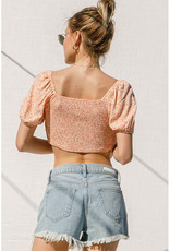 Peach Floral Pleated Crop Top