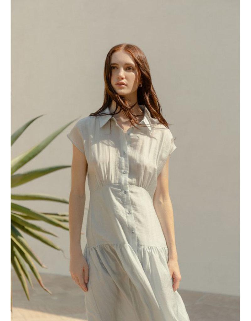 Pleated Midi Dress w/Buttons
