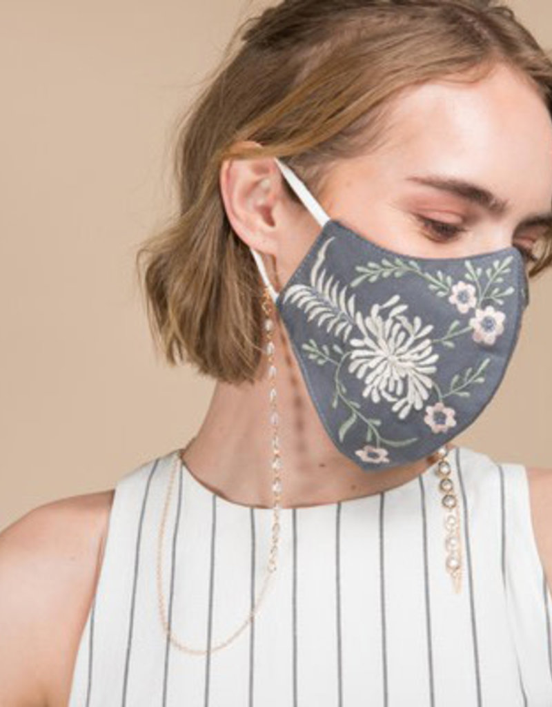 Embroidered 3 Layer Cotton Mask