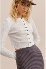 Ribbed Knit Button Cardi