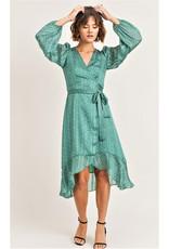 Green Print Wrap Midi Dress