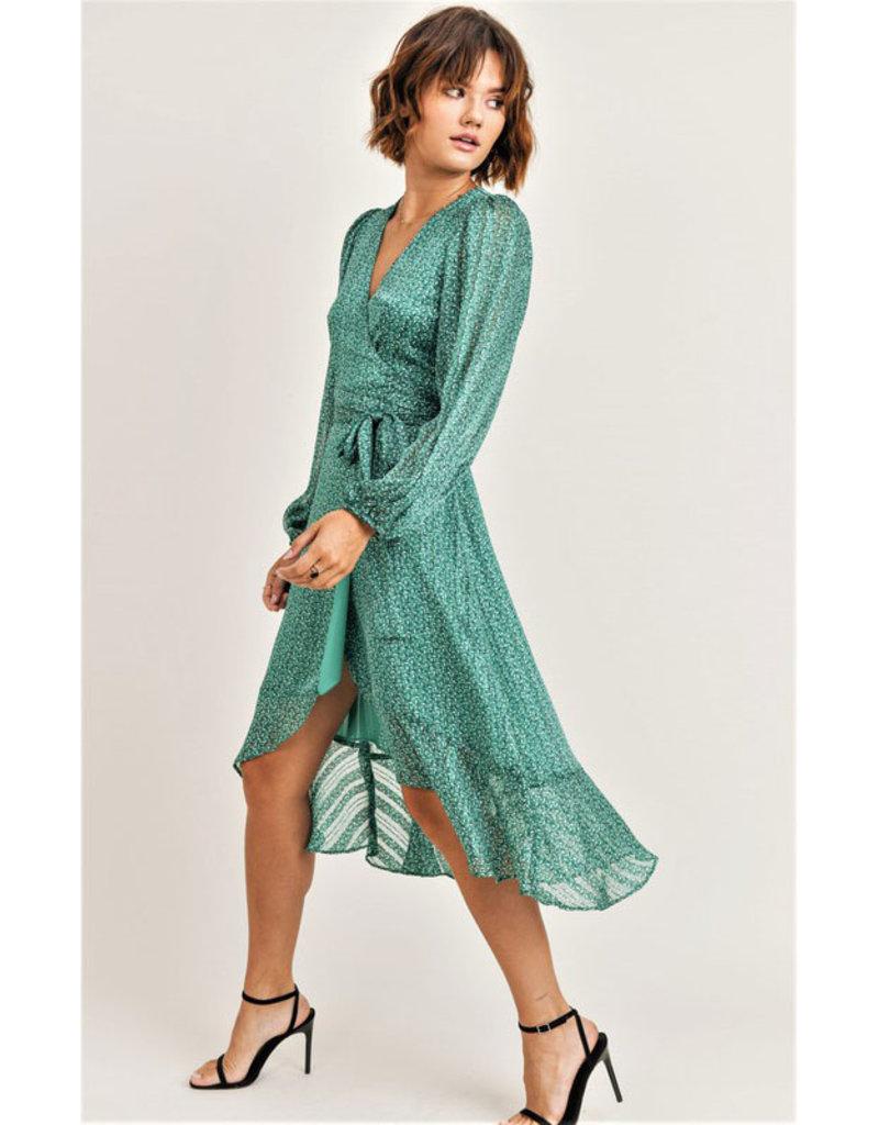 Jane + One Green Print Wrap Midi Dress