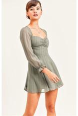 Sage Print Sweetheart Mini Dress