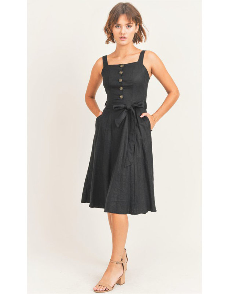 Linen Button Midi Dress