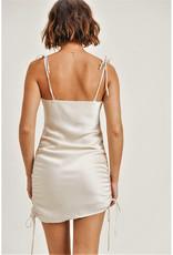Silk Ruched Mini Dress