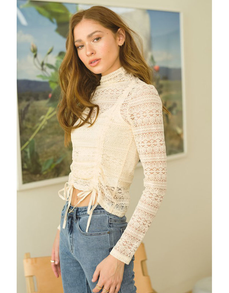 Cropped Mock Neck Lace Top