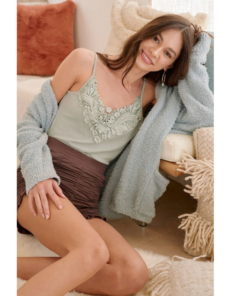 Cotton Ribbed Tank Top w/Lace