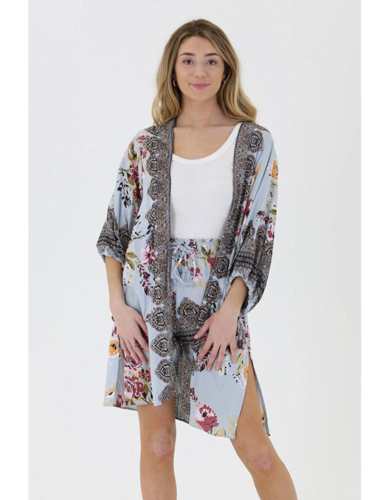 Angie Print Poet Sleeve Kimono