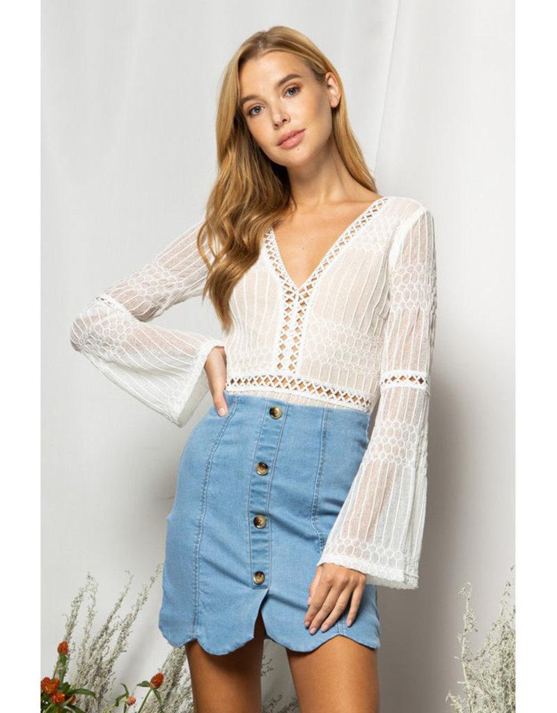 BaeVely Deep V Lace Bodysuit