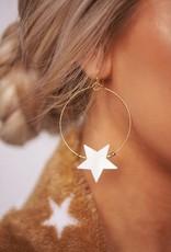 Boho Love Gold Hoop w/White Star