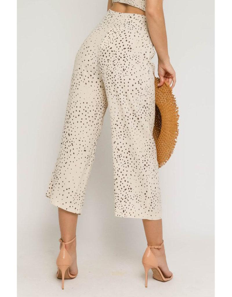 Olivaceous Cream Dot Crop Pants