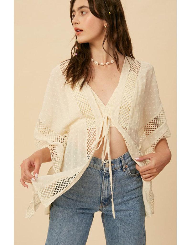 Listicle Cream Lace Edge Kimono