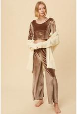 Listicle Velvet Crop Top & Pants Set