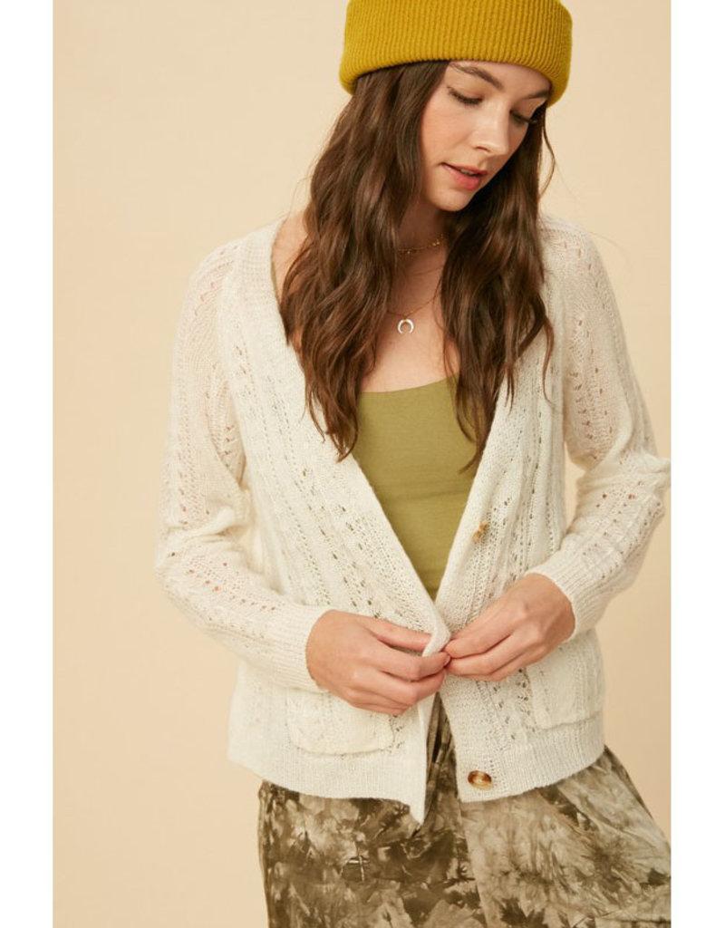 Listicle Cream Crochet Button Cardi