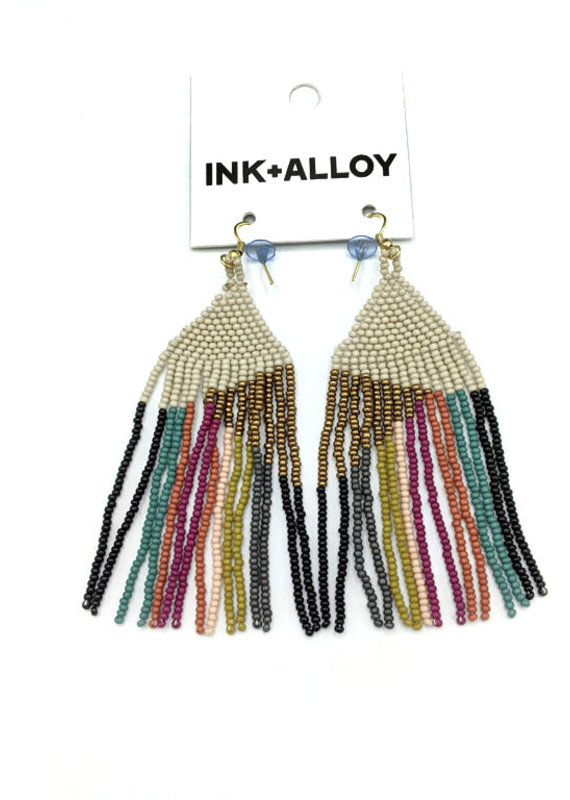 Ink+Alloy Gold/Ivory Muted Stripe Fringe Earring