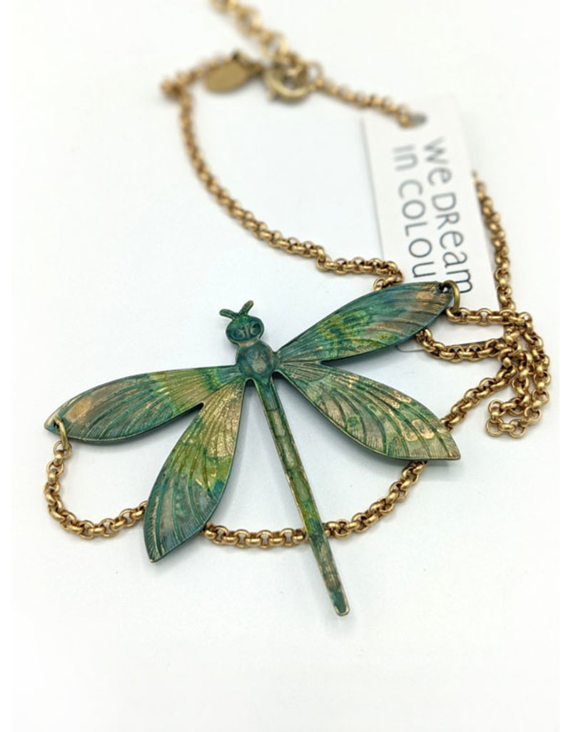 We Dream in Colour Verdigris Dragonfly Necklace