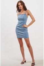 Blue Blush Denim Laced Back Dress
