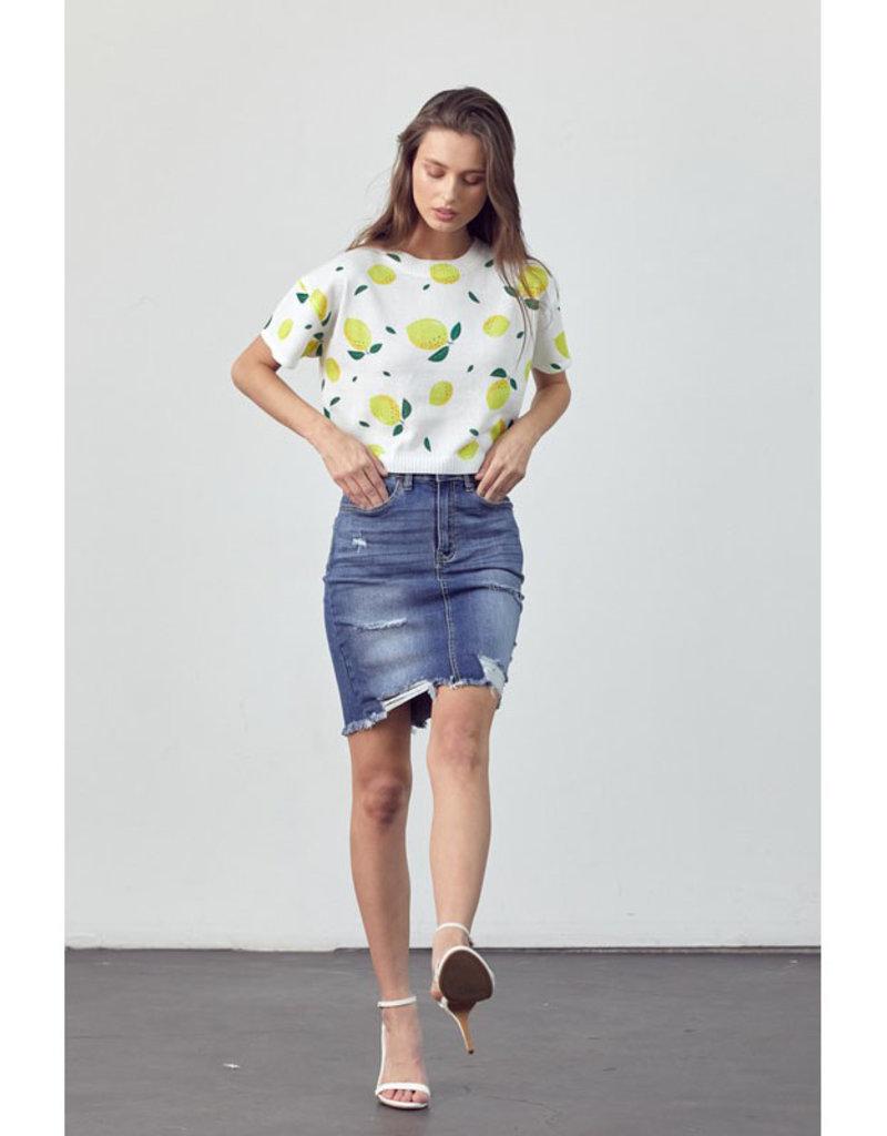 Poison Mushroom Distressed Denim Skirt