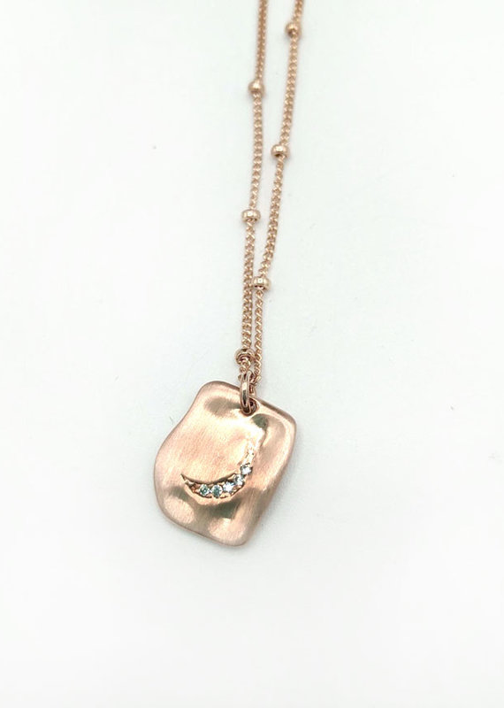 Waterlily Jewelry Rose Gold CZ Crescent Moon