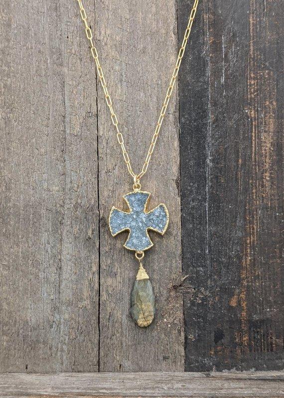 Waterlily Jewelry Gold Fill Druzy Cross/Labradorite