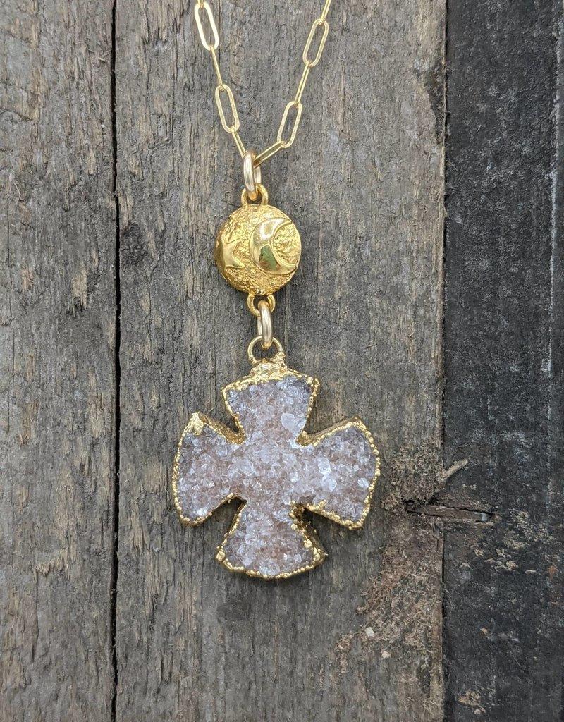 Waterlily Jewelry Gold Fill Druzy Cross/Moon & Star