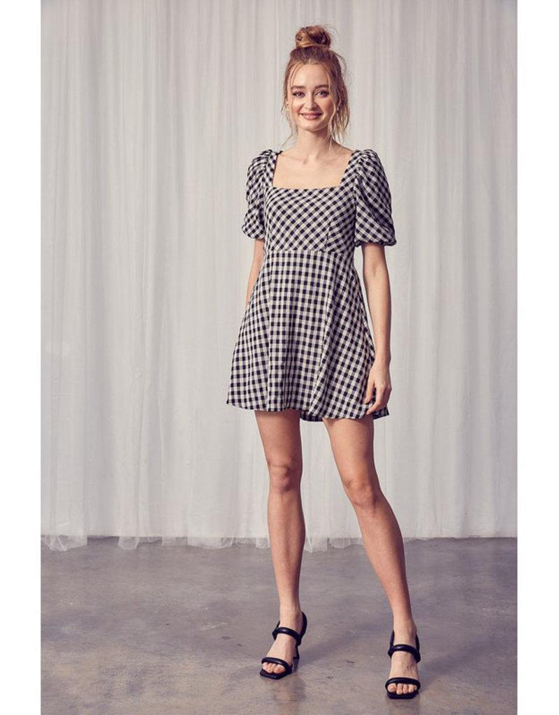 Miou Muse Black Gingham Mini Dress
