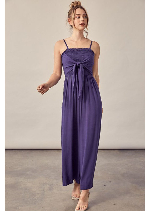 Miou Muse Navy Smocked Jumpsuit