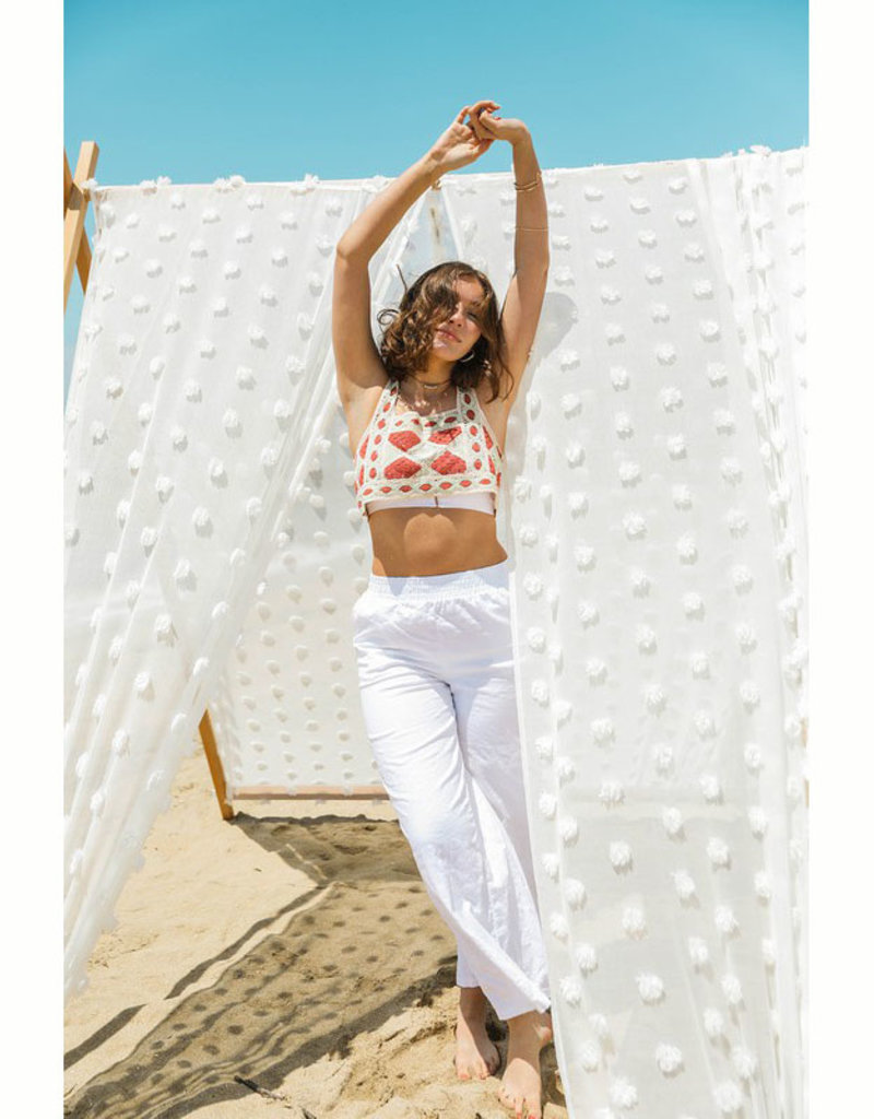 Leto Accessories Crochet Square Crop Top