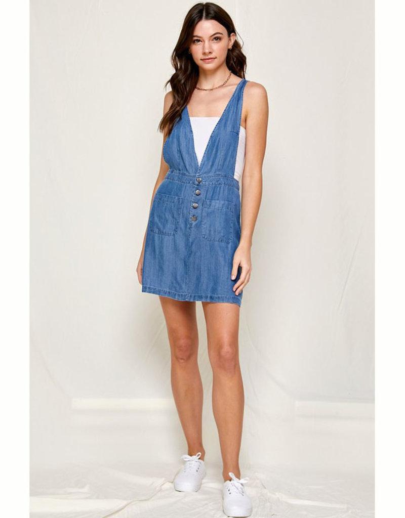 En Creme Denim Overall Dress