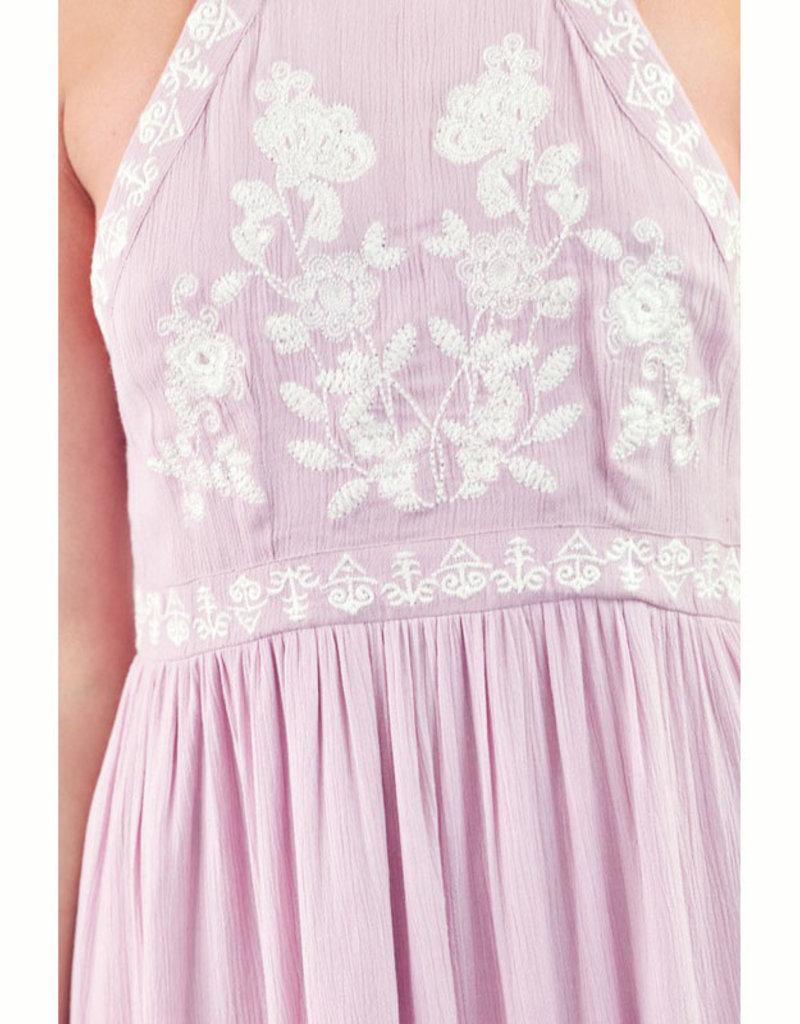 En Creme Pale Pink Embroidered Halter Maxi