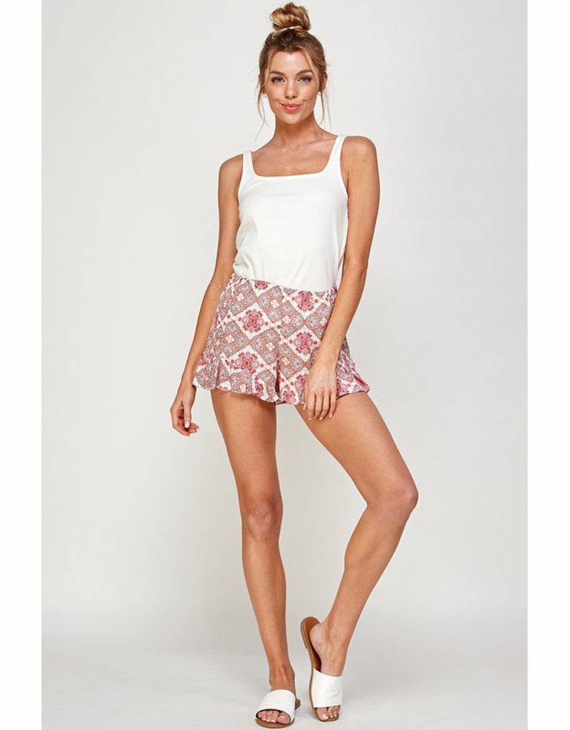 En Creme Coral Pattern Shorts
