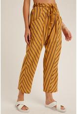 Listicle Mustard Stripe Paper Bag Pants