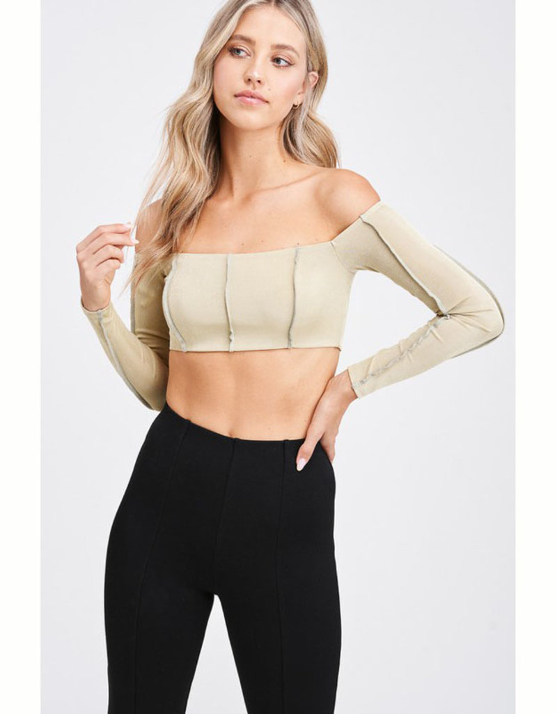 Emory Park Seamed LS Cropped Top