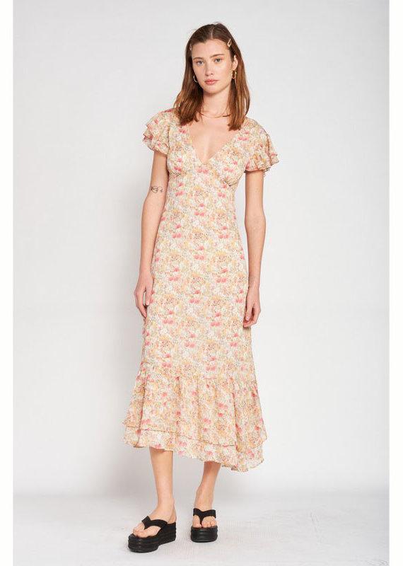 Emory Park Floral Flutter Sleeve Midi Dress
