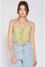 Emory Park Pale Green Lace Front Tank