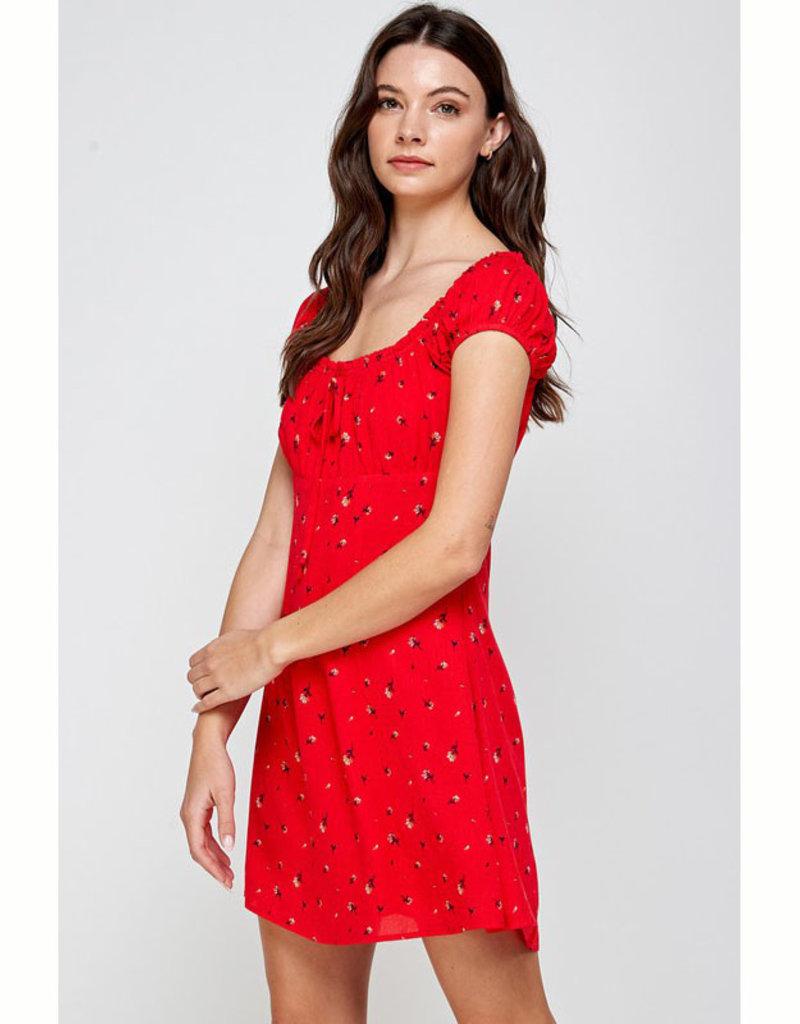 En Creme Red Floral Mini Dress