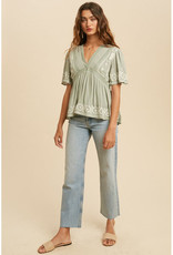 In Loom Floral Embroidered Lace Inset Top