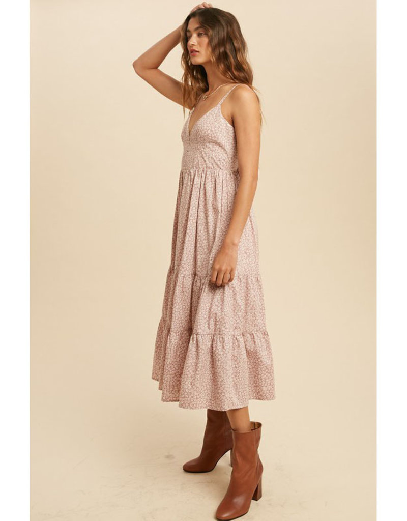 In Loom Cotton Floral Midi Dress w/Buttons