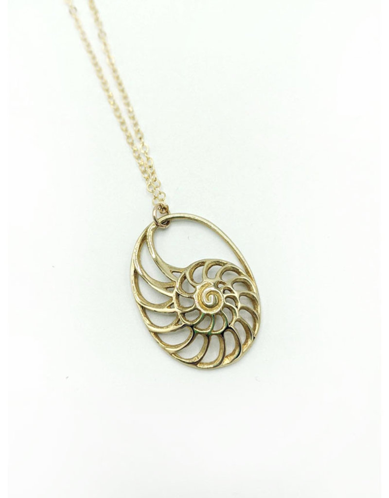 In BlissfulCo Sterling Silver & Brass Nautilus Necklace